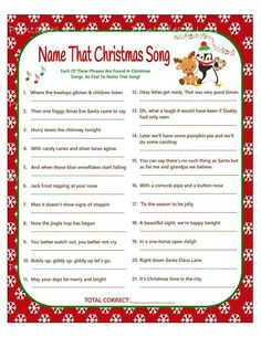 Christmas Carol Game DIY Christmas Song Game Christmas Music Game Printable Chri… Christmas Carol Game DIY Christmas Song Game Christmas Music Game Printable Christmas Games DIY Holiday Games Xmas Printables 4 Less Office party games The Christmas Song, Fun Christmas Party Games, Xmas Games, Printable Christmas Games, Christmas Games For Family, Holiday Games, Diy Christmas, Christmas Song Trivia, Christmas Office Games