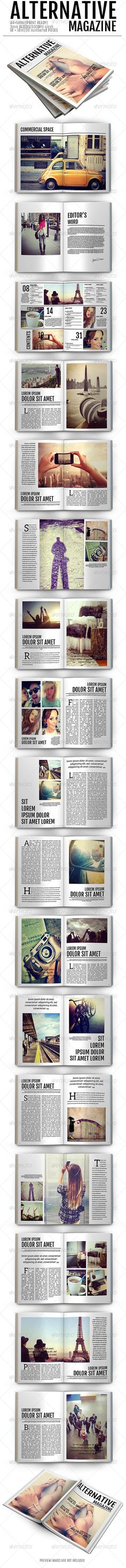 Alternative Magazine — InDesign INDD #old #colors • Available here → https://graphicriver.net/item/alternative-magazine/7855057?ref=pxcr