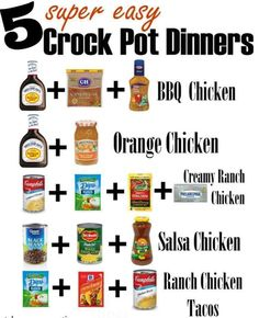 1. BBQ Chicken 3-4 Chicken breasts (boneless,skinless) 16 oz bottle of BBQ Sauce (we like Sweet Baby Rays) 1/2 cup Zesty Italian Dressing 1/4 cup brown sugar Mix together ingredients. Put in crock pot. Cook low: 4-5 hours or on