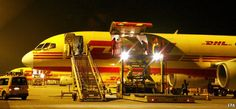 DHL B757 freighter loading cargo