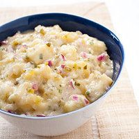 Austrian-Style Potato Salad -For a creamy and light potato salad recipe, do as the Austrians do: Ditch the mayo and look to the soup pot. Simmering the potatoes in a shallow pan with chicken stock, water, sugar, and salt yielded deeply flavored potatoes. Austrian Potato Salad, Austrian Cuisine, Austrian Food, Austrian Recipes, German Recipes, Americas Test Kitchen, Cooking For Two, Food Illustrations, Dessert