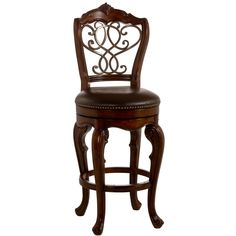 Baroque in inspiration and artfully executed, the Burrell stool brings Old World class to the modern bar. Constructed of solid brown cherry wood , this stool features an elegant, intertwining pattern on its back created of old steel finished metal work.