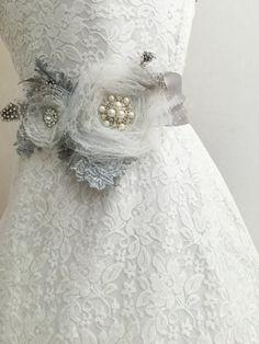 sash belt grey sash belt bridal flower sash by AnitaHiltonweddings