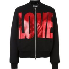 Givenchy love print bomber jacket ($2,890) ❤ liked on Polyvore featuring outerwear, jackets, black, pattern jacket, bomber jacket, zip front jacket, print bomber jacket and givenchy