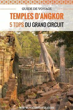 Nous voici aux portes des temples d'Angkor... Plutôt que de se jeter sur le temple d'Angkor Wat de bon matin, comme le million de touristes quotidien, on a décidé d'aller visiter les temples plus éloignés en empruntant le grand circuit de 12 km. Et pour être encore plus malin, on a pris le circuit… à l'envers. Comme ça, on a passé une première journée à visiter les temples d'Angkor… plutôt tranquille. Récits ! voyage au Cambodge | partir au Cambodge | visiter les temples d'Angkor | Angkor…