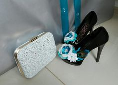turquoise floral shoes