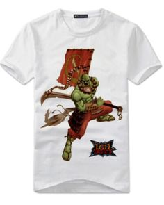 DOTA 2 hero Juggernaut t shirt for men short sleeve white tee XXXL- Dota 2 T Shirt, Dota2 Heroes, White Tees, Cotton Fabric, Shorts, Sleeve, Casual, Mens Tops, How To Wear