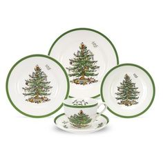 Made by Spode. Spode Christmas Tree Four Piece Place Setting. 92764056591 Part: This four piece place setting from the Spode Chiristmas Tree collection includes one dinner plate, one dessert plate, one cereal bowl and one mug. Christmas China, Spode Christmas Tree, Christmas Tree Pattern, Christmas Dishes, Merry Christmas, Christmas Place, Christmas Time, Vintage Christmas, Christmas Ideas