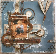 Scrapbook Page made by Gabrielle Pollacco using Dusty Attic Chipboard and Maja Design papers. Rusting technique used on the chipboard pieces. Vintage Scrapbook, Baby Scrapbook, Scrapbook Cards, Mixed Media Scrapbooking, Mix Media, Scrapbook Page Layouts, Altered Art, Making Ideas, Cardmaking