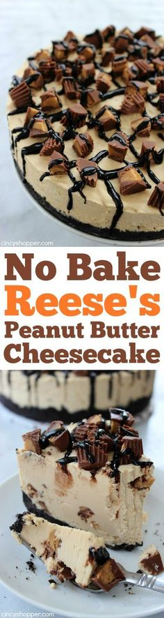 No Bake Reese's Peanut Butter Cheesecake loaded with smooth and creamy peanut butter plus yummy Reese's Peanut Butter Cups in just about every single bite.