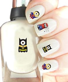 Easy to use, High Quality Nail Art Decal Stickers For Every Occasion! Dispicable me Minions Marvel - Spiderman, Superman and Batman.