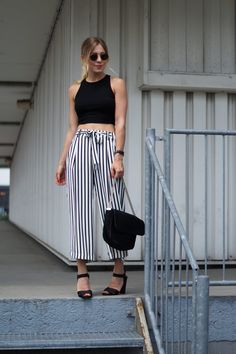 Outfit: Striped Culotte X Crop Top