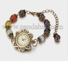 Wholesale Tibetan Style Alloy Garnet Watch Bracelets, with Iron Chains and Zinc Alloy Lobster Claw Clasps, Antique Bronze, Beaded Watches, Jewelry Watches, Watch Bracelets, Beaded Jewelry, Handmade Jewelry, Watch Bands, Gifts For Friends, Chakra, Garnet