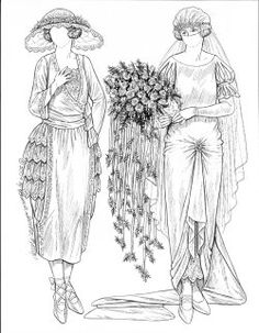 [1920's gown] draw the gown up with a flower