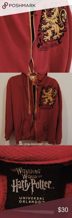 💥SALE💥 Harry Potter Gryffindor sweater This sweater is perfect for the season, and will add a little magic to your everyday look. If you want to enchant people everyday with your presence, then this is for you!  (Disclaimer: There is some minor signs of wear, but nothing that would ruin the look or quality of the sweater) Universal Studios Sweaters Zip Up
