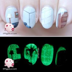 PiggieLuv: Monster from the wall nail art