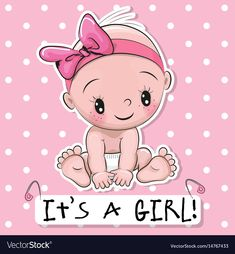 Illustration of Greeting card it is a girl with baby on a pink dots background vector art, clipart and stock vectors. Clipart Baby, Baby Shower Clipart, Welcome Baby Girls, New Baby Girls, Its A Baby Girl, Baby Shower Greeting Cards, Baby Cards, Dibujos Baby Shower, Scrapbook Bebe