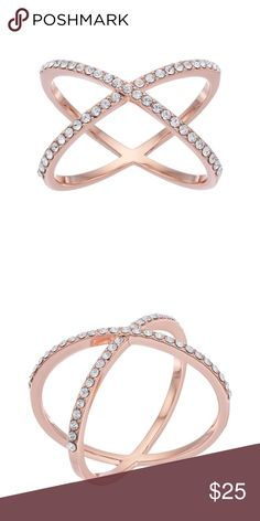 NWT!!! Brilliance Swarovski crystal X ring Absolutely beautiful rose gold X Ring with Swarovski crystal detailing; brass metal with rose gold finish; width .59in; the perfect addition to any outfit!!! Size 7 Brilliance Jewelry Rings