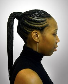 Biggie Small Feed-In Cornrows - Ponytail - Side View Braids by Thebraidguru.com