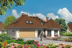 Wizualizacja Mój Dom Oliwka CE Modern Bungalow House Plans, House Extensions, Simple House, Home Fashion, Cabin, How To Plan, Mansions, House Styles, Outdoor Decor