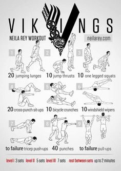 Viking Workout by Neila Rey Full Body Workout Plan, Ab Workout At Home, At Home Workouts, Workout Plans, Full Body Calisthenics Workout, 300 Workout, Workout Schedule, Month Workout, Workout Guide