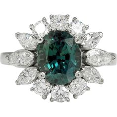 Rare Gem GIA 3.71ctw Natural Alexandrite Diamond Cluster Platinum Ring