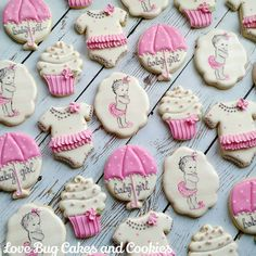Baby Girl Cookies, Baby Shower Cookies, Baby Girl Themes, Baby Shower Themes, Bug Cake, Iced Biscuits, Royal Icing Cookies, Sugar Cookies, Kinds Of Cookies