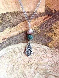 Green+and+Silver+Hamsa+Necklace