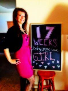 Chalkboard Pregnancy 17 Weeks: Pink Baby Mac