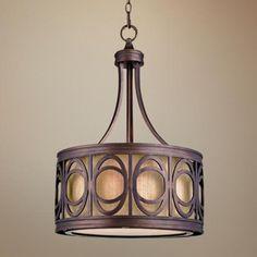 "Golden Bronze Ring Motif 17 3/4"" Wide Pendant Light - #U6694   LampsPlus.com"