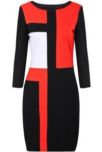 Red Contrast Black Long Sleeve Bodycon Dress