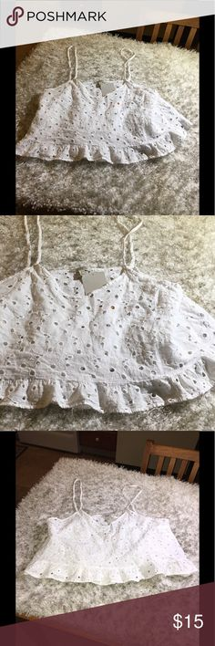 NWT Zara Eyelet Lace Crop Top Large New with tags!   Zara cropped tank top.  White eyelet lace.  Adjustable spaghetti straps.  Riffle edge hemline.  Size large.  Important:   All items are freshly laundered as applicable prior to shipping (new items and shoes excluded).  Not all my items are from pet/smoke free homes.  Price is reduced to reflect this!   Thank you for looking! Zara Tops Crop Tops