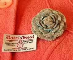 Fabric flower, woolen flower, woolen camellia, tweed corsage, woolen brooch, autumn jewelry