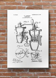 Coffee Mill Patent Print Coffee Patent Cafe Decor by dalumna