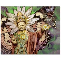 Kwan Yin Goddess, Lotus and Butterfly Canvas Print - Rise Above - Premium Canvas Gallery Wrap - Fusion Idol Arts - New Mexico Artist Christopher Beikmann