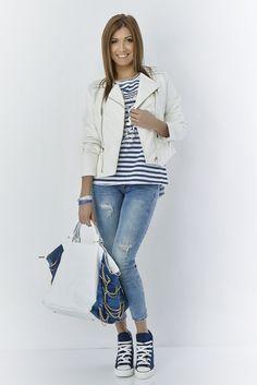 Eros Collection printemps/été 2015 #EROSCOLLECTION #PP15 #SS15 #printemps #style #look #jeans #casual #trendy #top #tshirt #imprimés #bleu #lignes #fresh