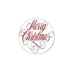 Merry Christmas! Custom Round Sticker from Zazzle.com ($0.15) ❤ liked on Polyvore featuring home, home decor, holiday decorations, christmas, christmas holiday decor, christmas holiday decorations and christmas home decor