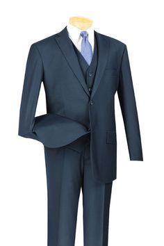 Men's Vinci 2 Button Classic Fit 3 Piece Vested Fashion Suit Navy V2TR   eBay
