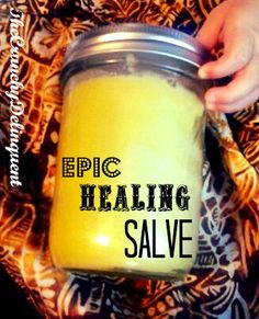 Epic Healing Salve! Super easy, homemade, all natural salve made from a simple leaf you can find in your back yard!! Great  for bug bites, bee stings, cuts, scratches, scrapes and bruises! #salve #plantain #epic #healing