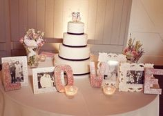 parents' wedding pictures on cake table. A lot like what I had in mind for ours Wedding Cake Table Decorations, Vintage Centerpieces, Wedding Table Flowers, Cool Wedding Cakes, Old Wedding Photos, 60th Anniversary Parties, Perfect Wedding, Dream Wedding, Memory Table