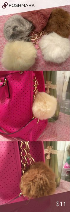 Faux Pom pom key chains White Cream Camel Gray Comment which color you are interested in Accessories