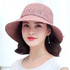Raffia crochet straw sun hat for women UV summer foldable beach hats