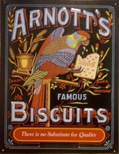Arnott's Biscuits,,, all the good Aussie icons have been bought by America… Sydney, Brisbane, Melbourne, Vintage Tin Signs, Vintage Tins, Vintage Labels, Vintage Packaging, Vintage Stuff, Vintage Paper