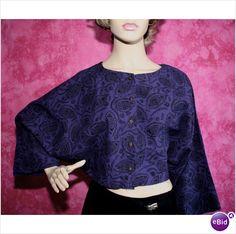 Vintage 1970 Black Purple Dolman Sleeve Top Size 14 16 Womens