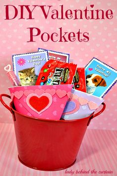 DIY Valentine Pockets- for cards, candy, small gifts, etc.