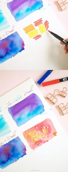 Looking for a fun way to watercolor? Use my technique of creating watercolor wash using Tombow brush pens in six different ways - Inkstruck Studio