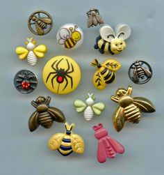 SOLD: Insects bugs buttons modern and a few vintage buttons