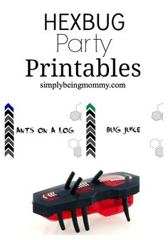 Printables to use for snacks at a Hexbug party at simplybeingmommy.com.