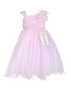 Girl's Light Pink Organza Flower Girl Dress with Floral Accent by Elitedresses.com