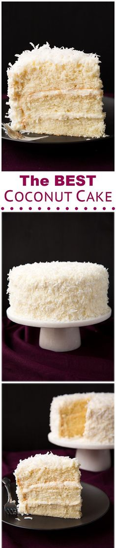 COCONUT CAKE | Preheat oven to 350 degrees. Butter 3 9-inch round cake pans and line bottom of each with a round of parchment paper, butter parchment paper and set pans aside. Sift cake flour into a large mixing bowl, then add baking powder and salt and whisk mixture for 20 seconds. In the bowl of an electric stand mixer, fitted with the paddle attachment, blend together granulated sugar,... CLICK FOR FULL RECIPE